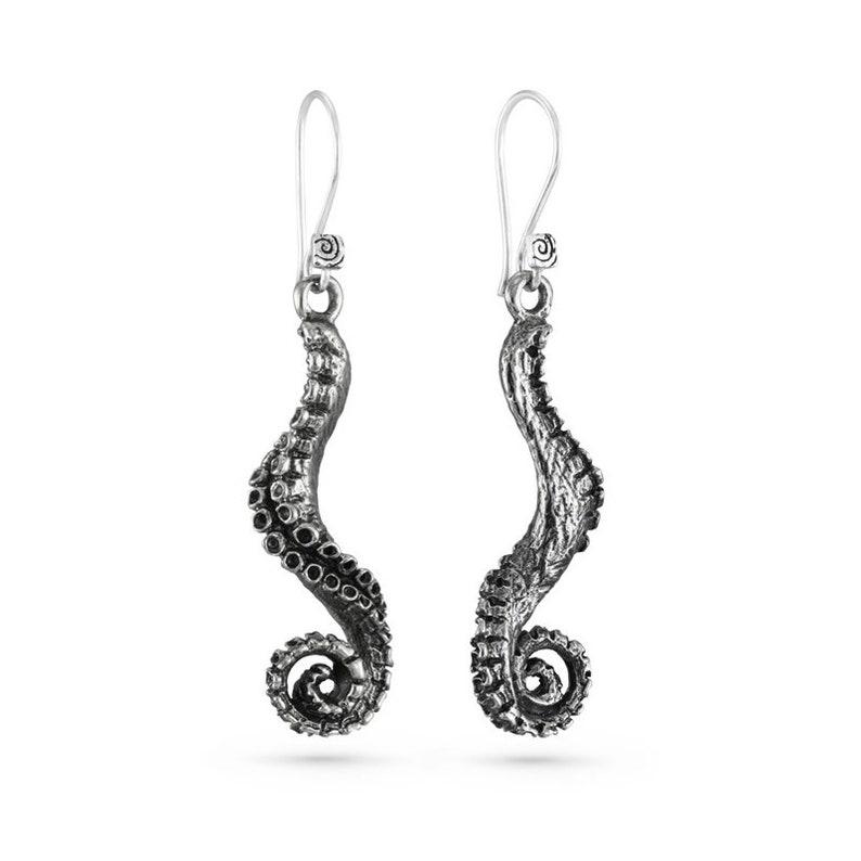 Tentacle Earrings  Antique Silver Tentacle Earrings  Octopus image 0
