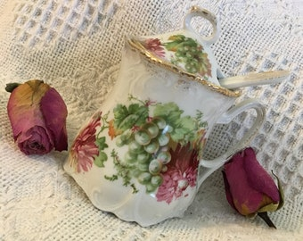 Antique Floral Porcelain Jam Honey Pot Lidded Jar With Pink Peonies or Chrysanthemums and Green Grapes Gold Gilded Includes Spoon