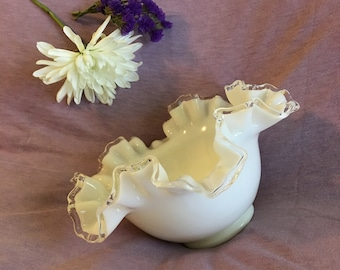 Fenton White Milk Glass Ruffled Bowl Vintage Silver Crest Double Crimped Border Art Glass Dish Early to Mid Century Home Decor Wedding Gift