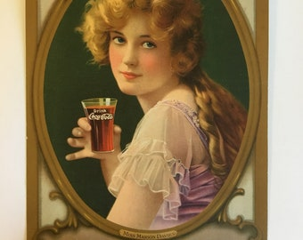 Marion Davies Coca Cola Advertisement Antique 1918 Ad With Famous Silent Film Actress Holding a Coke Americana Ad Collectible 1910s Ephemera