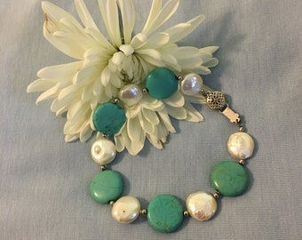 Howlite and Freshwater Pearl Bracelet Vintage Aqua and White Round Gemstones With Silver Tone Beads and Fancy Clasp Spring Summer Bracelet