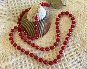 Monet Necklace Vintage Red and Gold Beaded Costume Jewelry Signed 1980s Collectible Mothers Day 4TH of July Christmas Gift