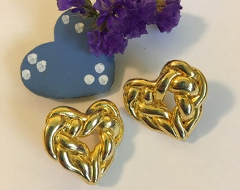 Large Heart Earrings Gold Tone Braided Rope Heart Design Statement Earrings Vintage Post Style Modern Collectible Romantic Costume Jewelry