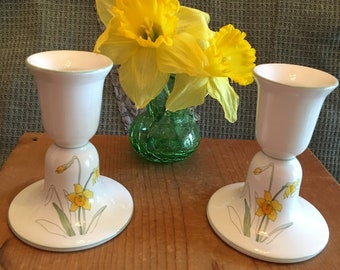 Daffodil Candlestick Holders Block Bernarda Portugal Watercolors Daffodil by Mary Lou Goertzen Vintage 1983 China Home Decor Candle Holders