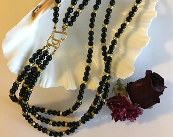 Black Glass and Gold Necklace Vintage Beaded 3 Strands With Unique Modern Hook Style Toggle Clasp Little Black Dress Accent Jewelry