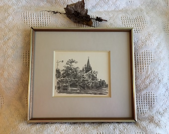 Canadian Lithograph of Old Montreal Church by Artist R.D. Wilson Copy of Original Charcoal Drawing by R.D. Wilson in 1964 Signed by Artist
