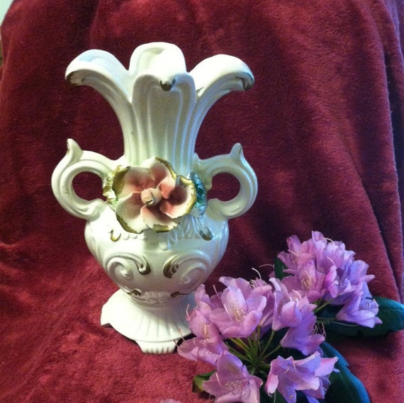 Capodimonte Porcelain Rose Vase Vintage Mid Century Italian Etsy