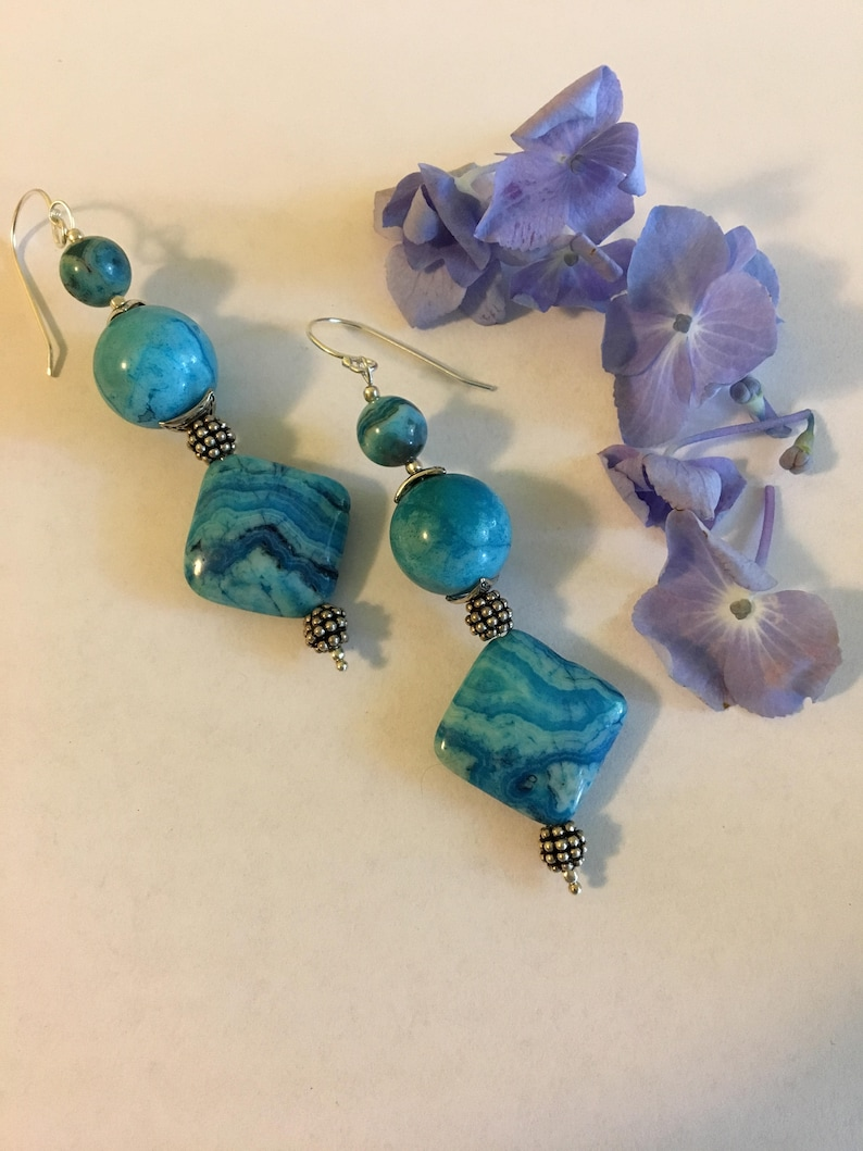 e0db7a2dbc5d0 Aqua Crazy Lace Agate Earrings Modern Abstract Handmade Blue Agate Earrings  With Diamond Round Shaped Beads and Silver Triskelion Spacers