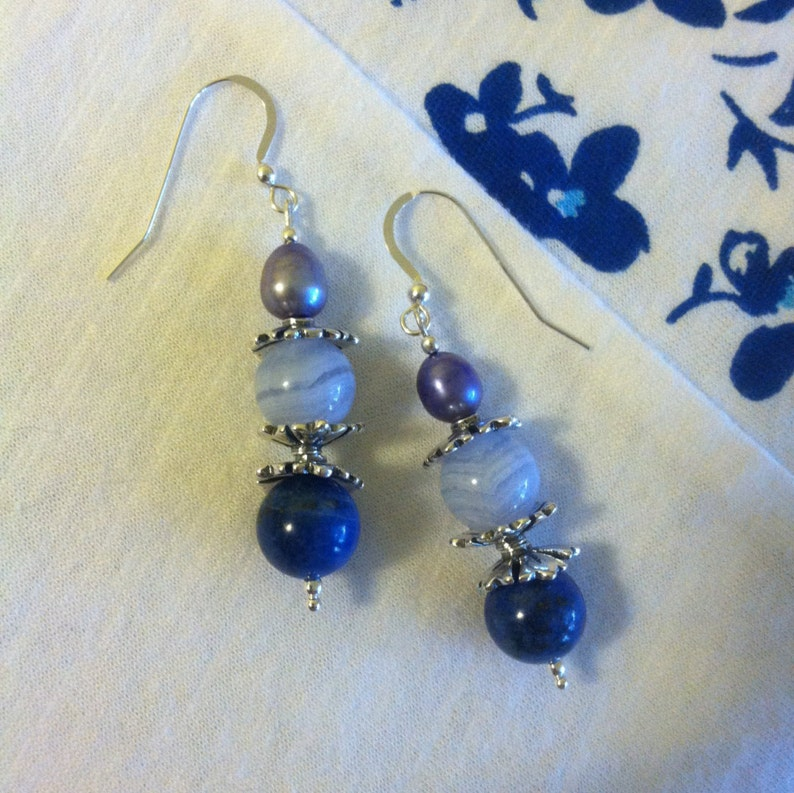 5533e31723683 Blue Fancy Drop Earrings Lapis Lazuli Blue Lace Agate Pearl and Sterling  Silver Handmade Earrings Shades of Blue Hues Jewelry Christmas Gift