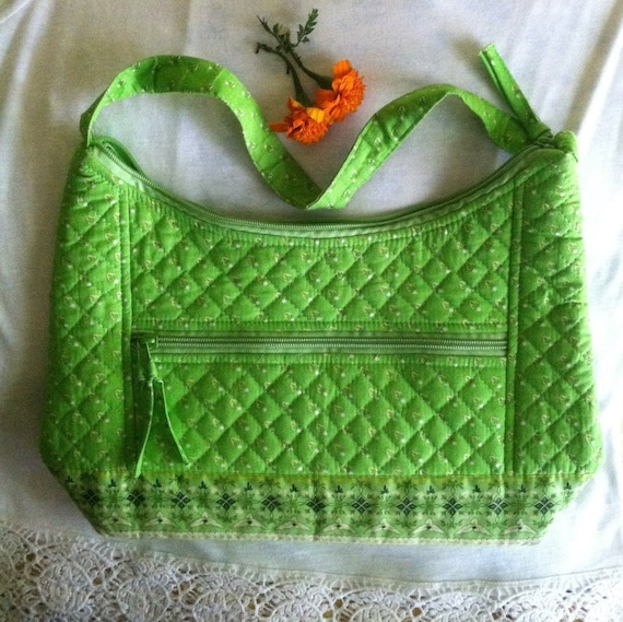 Green Handbag Vintage Lime Green Cotton Flowered H