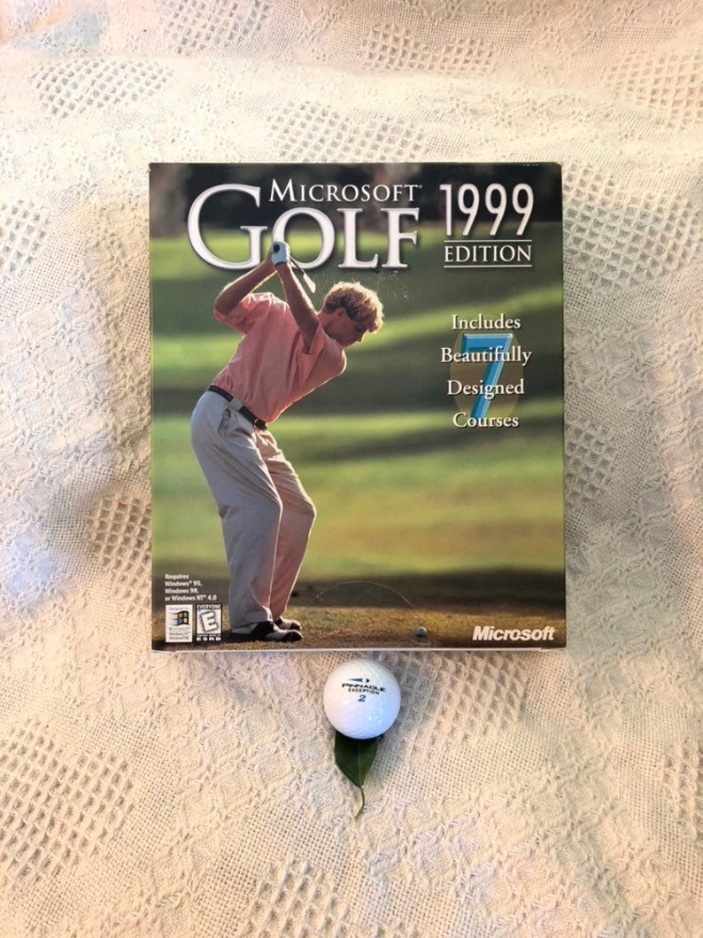 Microsoft Golf 1999 Edition 2 CD ROM Set Vintage PC Video Game New  Condition Sealed Box Golfing Golf Lovers Man Cave Gift