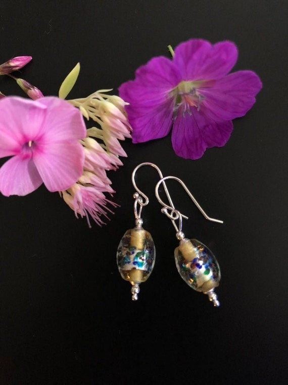 Venetian Glass Earrings Handmade Murano Drop Earrings With Silver Foil and Multicolor Design Accented In Sterling Silver Wedding Bridal Gift