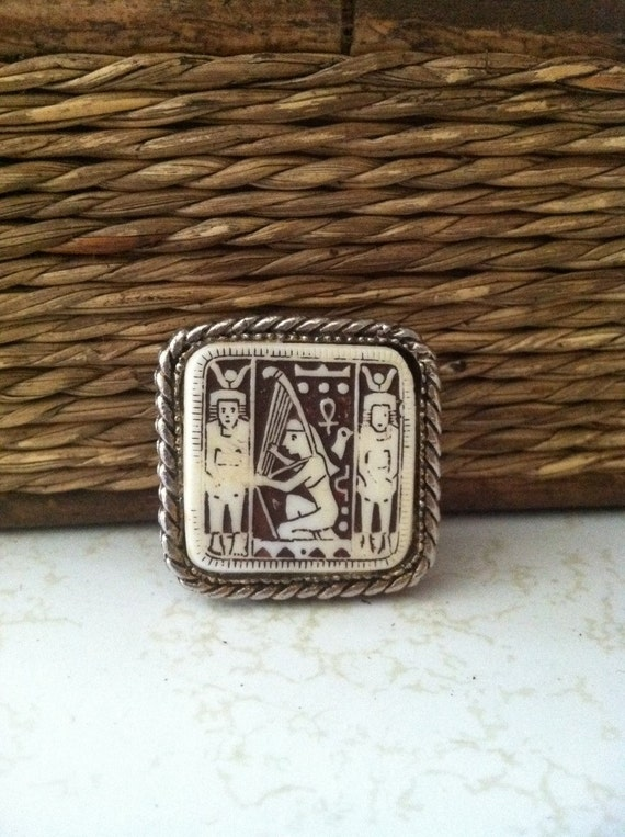Egyptian Hieroglyphics Brooch Vintage or Antique C