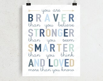 Winnie The Pooh Cute Child Quotes You Are Braver Stronger Etsy