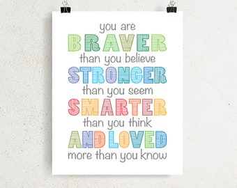 Winnie The Pooh Quote Printable Wall Art You Are Braver Than Etsy