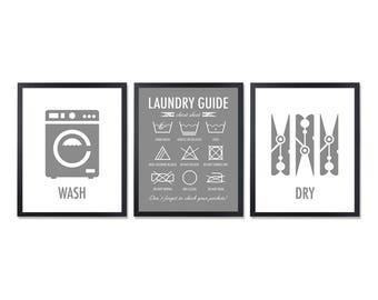 Laundry Symbols Laundry Room Decor Washing symbols Laundry Guide Laundry Instructions Laundry wall Charcoal gray Art Washing labels set of 3