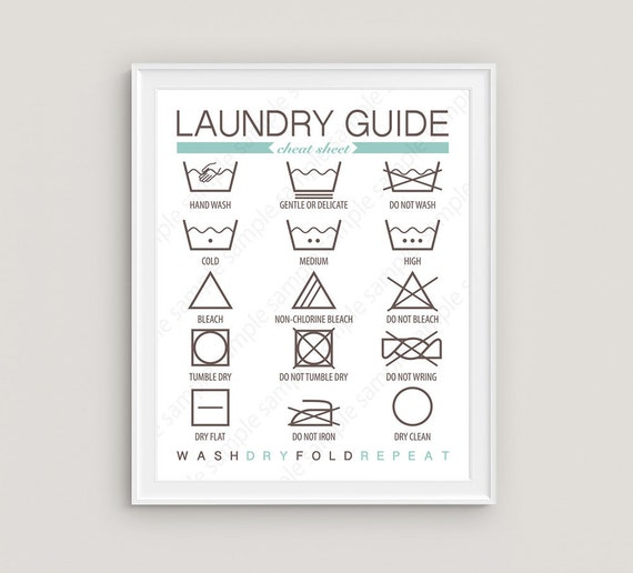 Laundry Guide Wall Art Laundry Instructions Laundry Symbols Etsy