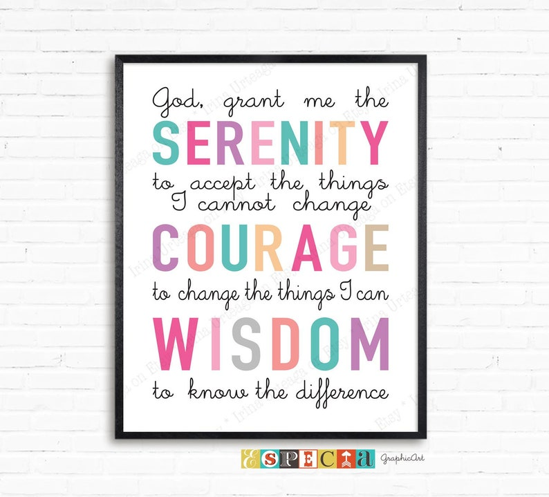 graphic about Free Printable Serenity Prayer referred to as God grant me the serenity printable serenity prayer wall artwork, 8x10 and 11x14 bravery knowledge Christian print electronic down load Do-it-yourself house decor