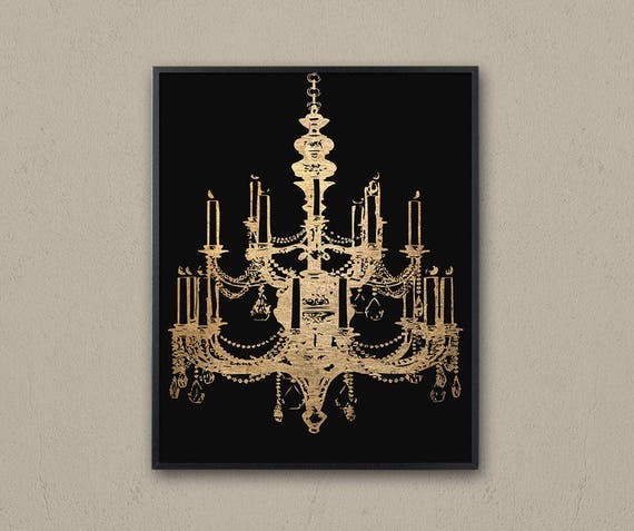 Black gold chandelier wall art printable graphic art gold etsy image 0 aloadofball Image collections