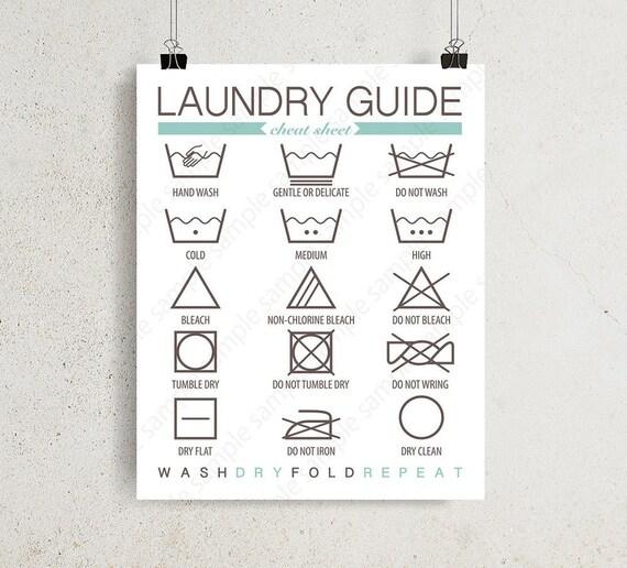 Laundry Guide Wall Art Laundry Instructions Laundry Symbols Etsy