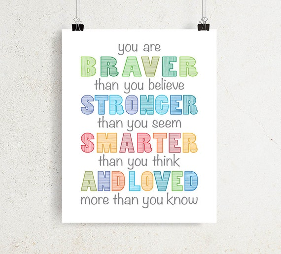 Winnie The Pooh Quotes You Are Braver Than You Believe Etsy
