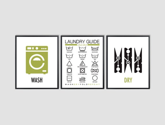 Set Of 3 8x10 Laundry Symbols Room Decor Laundry Signs Etsy