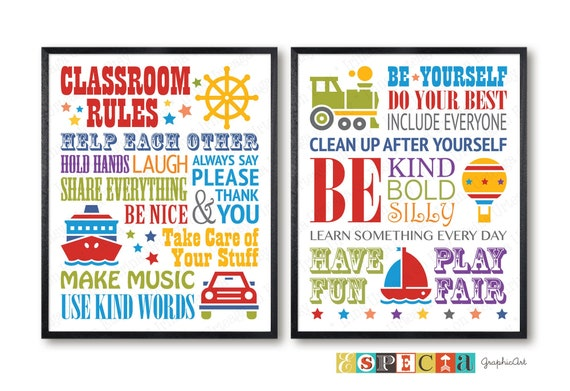 photograph about Kindergarten Classroom Rules Printable titled Clroom Pointers, printable posters for kindergarten, daycare or essential university cl decor, fastened of 2 engage in Place symptoms, electronic prints