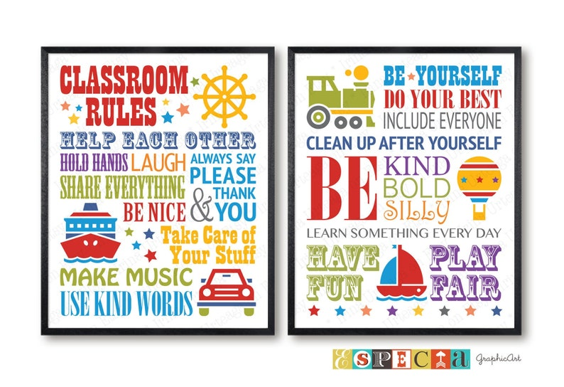 image about Classroom Rules Printable known as Clroom Regulations, printable posters for kindergarten, daycare or major faculty cl decor, fastened of 2 enjoy regional indications, electronic prints