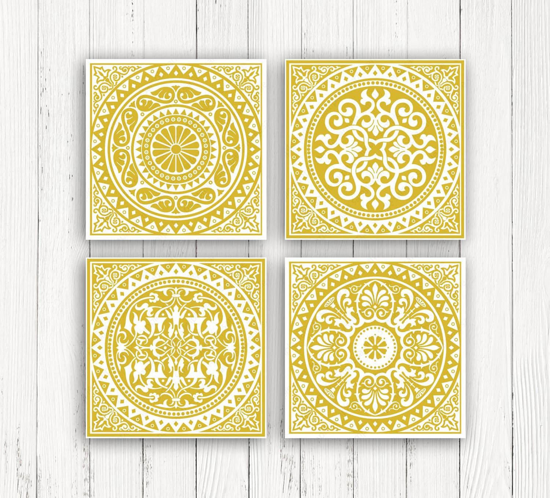 Yellow wall art set Mustard yellow decor Geometric Prints   Etsy