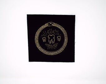 3-inch Circular White Ouroboros Patch with Iron-On Backing