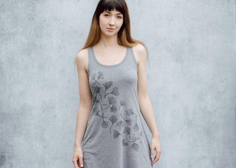 Ginkgo Leaf Heather Grey Screen Print Mini Tank Dress