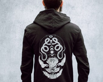 Geometric Snake and Bone and Moon Phases Floral Black Zip Up Screen Print Punk Fleece Hoodie