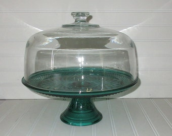 Vintage Green Anchor Hocking Wexford crystal Cake Stand,cloche,charming glass,tabletop,tableware,Times Peirods Style,