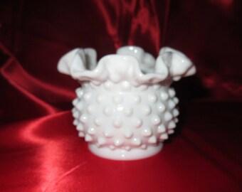 Fenton Hobnail Milk glass Rose Bowl vase ruffled rim