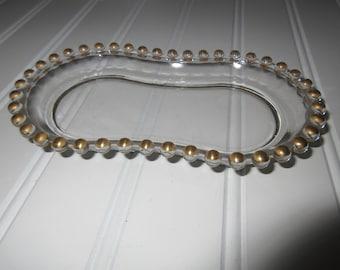 Candlewick Gold Beads  rim Creamer Sugar TRAY by Imperial Glass Ohio, Hobbs rim hobnail beaded  rim