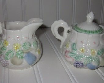 Porcelain pastel tree fruit cream and sugar set