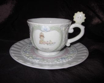Collectible Precious Moments Collection August Tea Cup w/Saucer