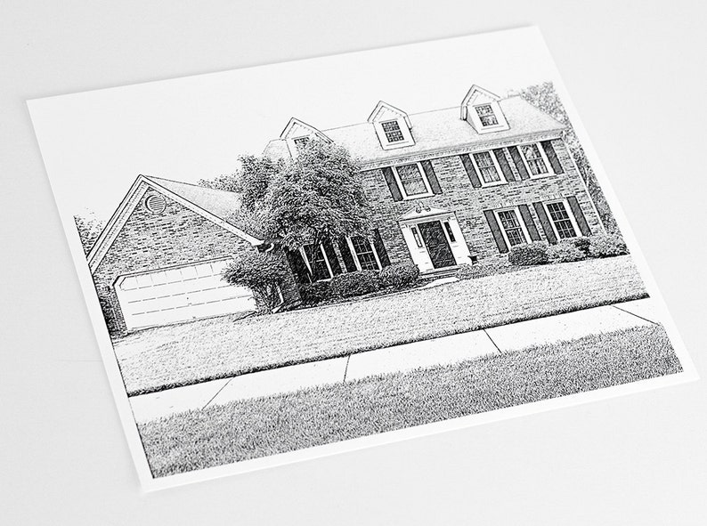 Custom Sketch of your Home Art Print / House Illustration Wall image 0