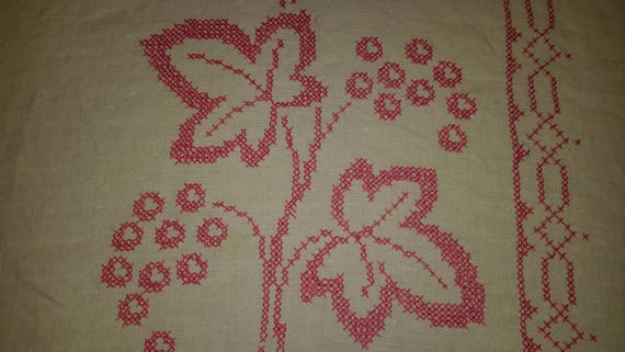 Linen Lace Tablecloth Floral Motif Vintage Table Linens by AntiquesandVaria NEW Free Shipping