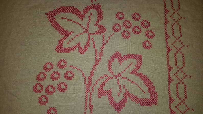 Linen Tablecloth Bubblegum Pink Embroidered Leaves With Border Work by AntiquesandVaria NEW Free Shipping