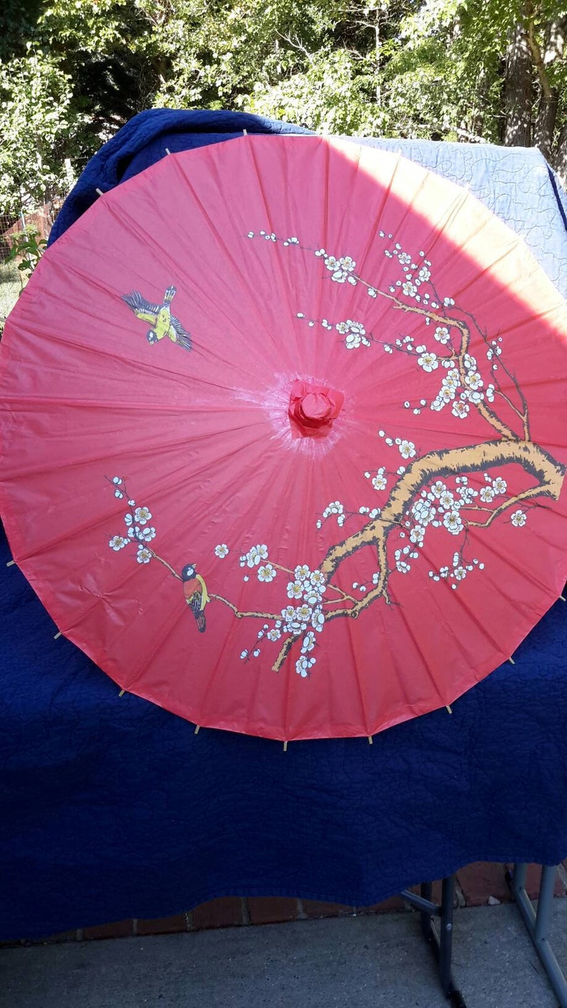 Chinese Parasol Traditional With Birds Six Available Classic Find by AntiquesandVaria NEW Free Shipping