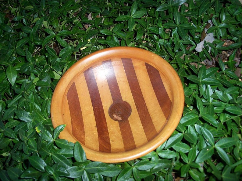 Wood Compote Striped Wooden Art Treen Artifact by AntiquesandVaria NEW Free Shipping