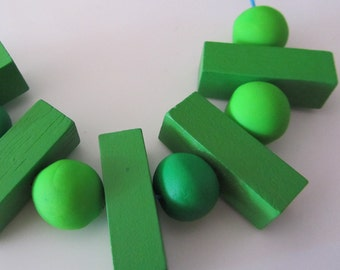 lime green Cuisenaire timber maths rod, polymer bead geo fashion necklace