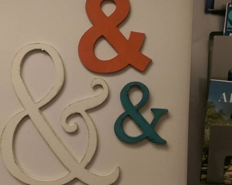 Wooden Ampersand Sign - UNPAINTED- Your choice of font