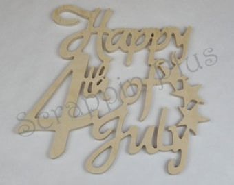 Happy Fourth of July Wooden Wall Decor - This item makes a great addition to a wreath or as a wall decoration for your 4th celebration