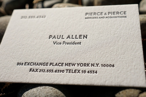 The Improved Paul Allen Custom Letterpress Printed Calling Etsy