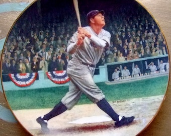"Vintage ""Babe Ruth:  The Called Shot"" Legends of Baseball Collectible Plate by Brent Benger, Limited Edition, Gift for Him, Christmas"