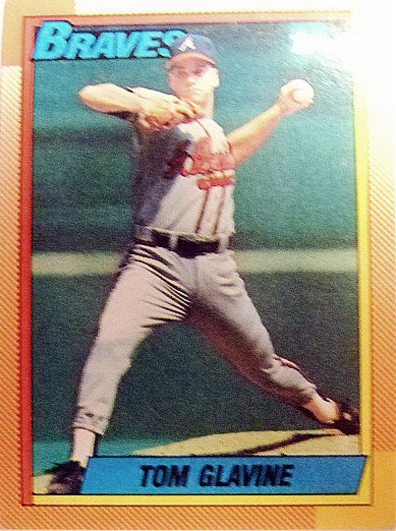 Vintage Tom Glavine 1990 Topps Baseball Card Hall Of Famer 300 Game Winner Atlanta Braves Cy Young Winner Gift For Him Christmas