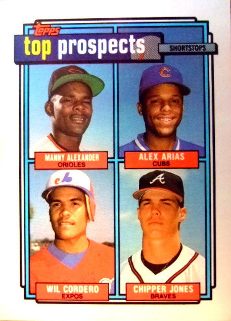 Vintage 1992 Chipper Jones Top Prospects Baseball Card Near Mint Condition Atlanta Braves Legend Gift For Him Collectible Christmas