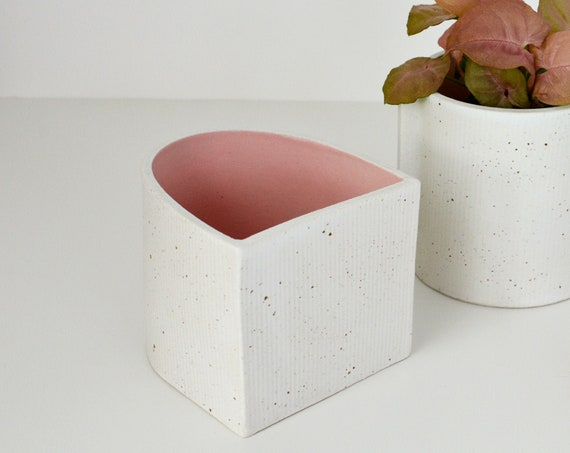 "Arch Contrast Pink Ceramic Planter | Vessel |  10cm (4"") tall"